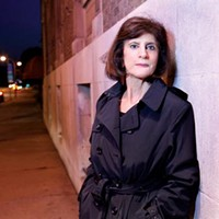 Detective author Kathleen George, trench-coated, has just published her fifth thriller, Hideout.
