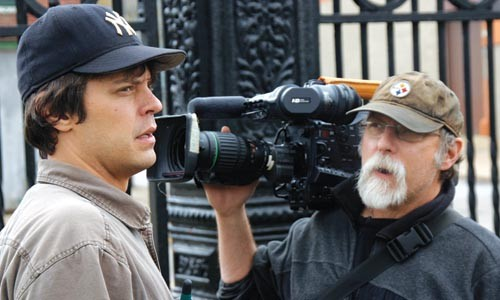 """Director Sam Turich (left) consults with cinematographer Mark Knobil while filming """"Mombies"""" in Lawrenceville. - PHOTO: TIMOTHY HALL"""