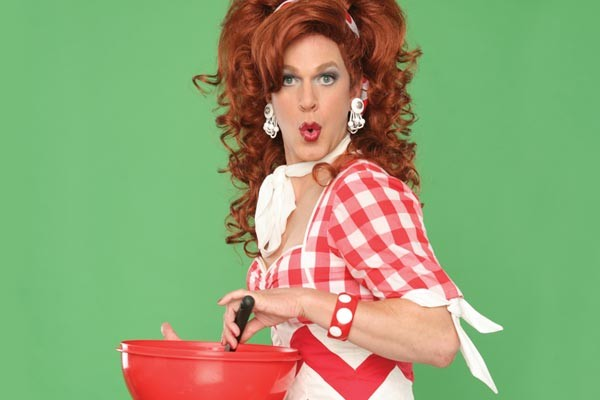 Dixie does plastic in Dixie's Tupperware Party at Pittsbugh CLO.