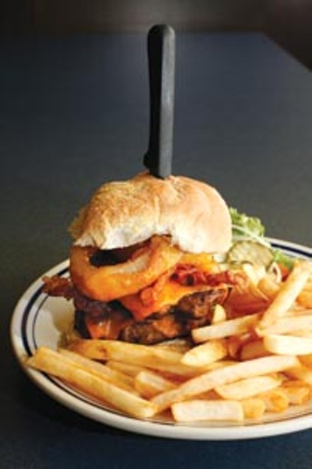 Double-bacon BBQ cheeseburger and fries - HEATHER MULL