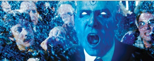 Dr. Manhattan (Billy Crudup) is annoyed by humanity.