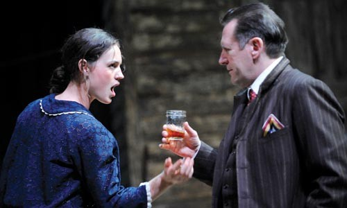 Drinking it in: Beth Wittig and Victor Slezak in A Moon for the Misbegotten, at Pittsburgh Public Theater. - PHOTO COURTESY OF PITTSBURGH PUBLIC THEATER.