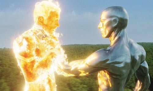 Dude, you're on fire: The Silver Surfer (right) confronts the Human Torch.