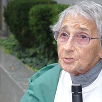 Edith Bell, a veteran activist, spoke at the Sept. 28 rally.