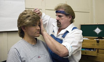 Edward Buechele makes up actor Diana Ifft (left) for a male role in Mineola Twins. - HEATHER MULL