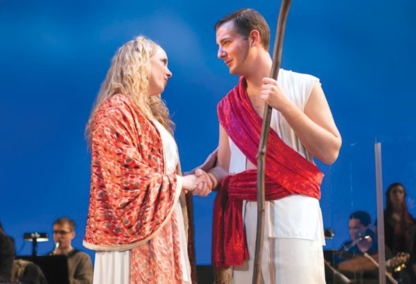 Emily Lynne Miller and Nathan Sudie (as Eve and Adam) in Pittsburgh Musical Theater's Children of Eden