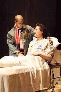 Epic struggles: Martel Manning (left) and John Graham in Pitt Rep's Angels in America: Millennium Approaches. - PHOTO BY STEPHEN GREBINSKI.