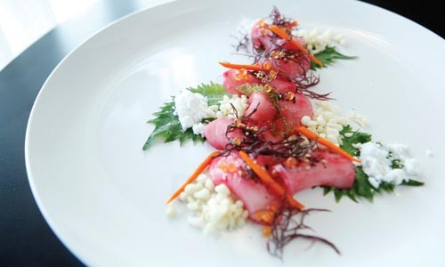 Escolar sashimi with prickly pear ponzu, shiso seaweed, trout roe, wasabi and tempura - HEATHER MULL