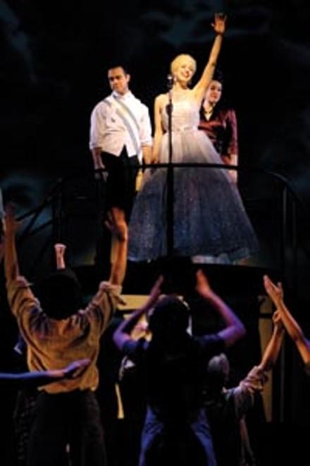 Eva destruction: Kevin O'Leary (at left on riser) and Courtney Bassett (center) star in Point Park's Evita.