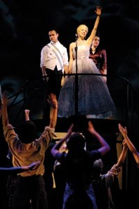 Eva destruction: Kevin O'Leary (at left on riser) and Courtney Bassett (center) star in Point Park's Evita.