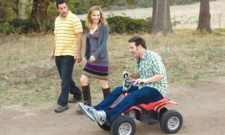 Even the ride is funny: from left, Adam Sandler, Leslie Mann and Seth Rogen