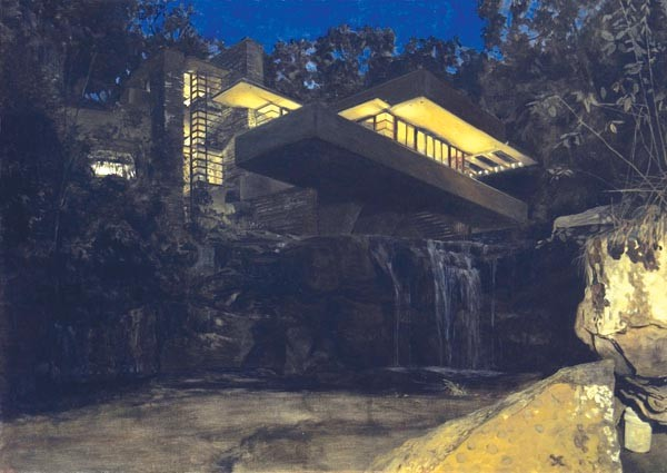 "Fallingwater by night: Felix de la Concha's painting ""Nocturnal at the Foot of the Falls"""