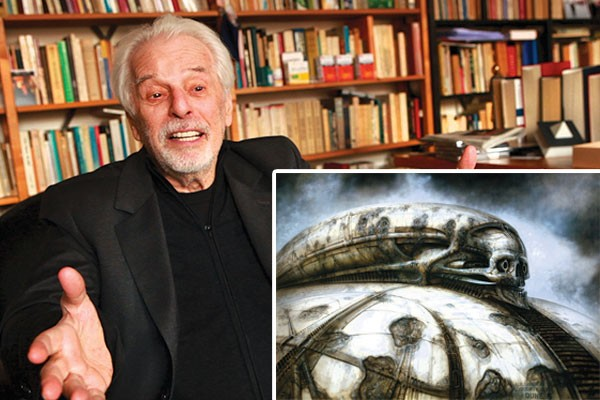 Filmmaker Alejandro Jodorowsky today; 1976 illustration from H.R. Giger for a Dune set piece (inset)