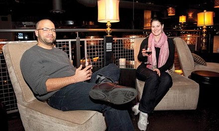 Fine wine time: Robin Glinton (left) with Marla Stayduhar, at the Wine Loft. - JOHN ALTDORFER