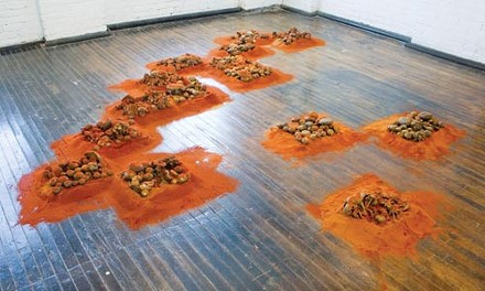 """Food for thought: """"Untitled,"""" by Sarika Goulatia, consists of chili powder and bronze mushrooms. Photo courtesy of the Mattress Factory."""