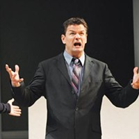 Framing the discussion: (from left) Harry Bouvy, Rob Breckenridge and Darren Eliker in <i>Art</i>, at Pittsburgh Public Theater