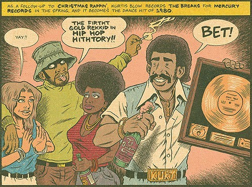 From Hip Hop Family Tree: Russell Simmons (in hat), Kurtis Blow and friends