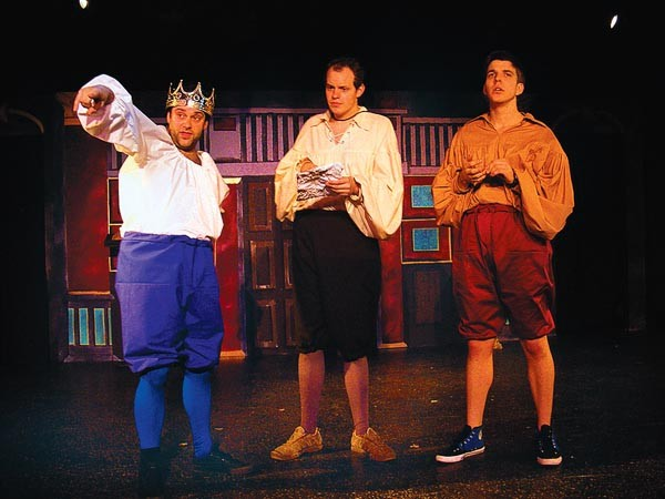 From left: Andy Kirtland, Connor McCanlus and Nicholas Browne in The Complete Works of William Shakespeare (Abridged) at Unseam'd Shakespeare.