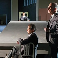 "From left: Cameron Knight (background), James Fitzgerald and Mark Conway Thompson in Quantum's ""All the Names"""