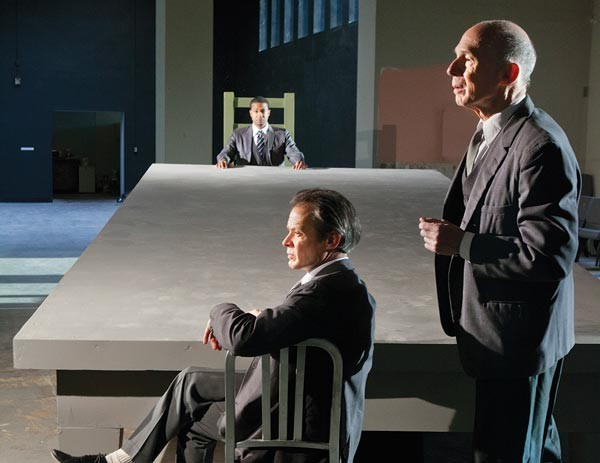 "From left: Cameron Knight (background), James Fitzgerald and Mark Conway Thompson in Quantum's ""All the Names"" - PHOTO COURTESY OF HEATHER MULL"