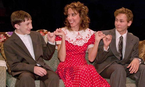 From left to right: Ben Nadler, Mary Liz Meyer and John McGovern in Little Lake's Lost in Yonkers.