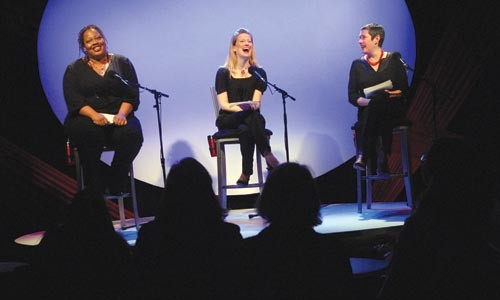 From left to right: Erica Bradshaw, Holli Hamilton, Laurie Klatscher in The Vagina Monologues at City Theatre. Photo courtesy of John Schisler.