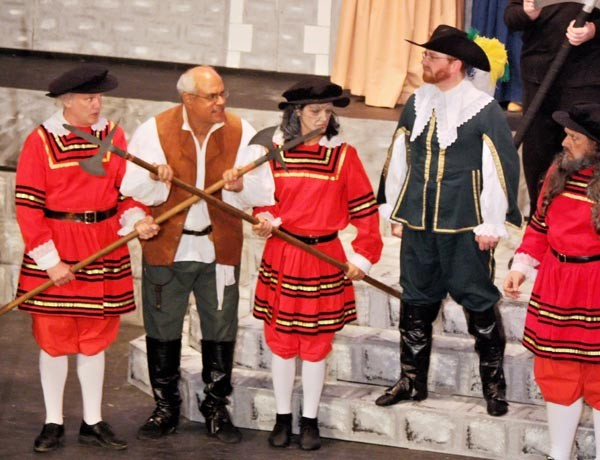 From left to right: Henry Tucker, Gregory Patrick, Jordan Speranzo, Sean Duggan and Garth Schafer in the Savoyard's The Yeomen of the Guard.