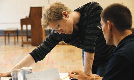 From Rent onward: Anthony Rapp (center) consults with director Steven Maler in a rehearsal for Without You.