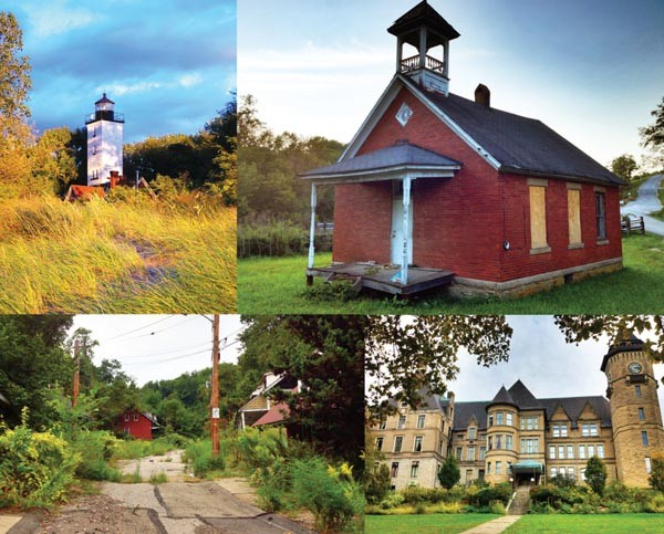 "From the archives of ""Abandoned, Old, & Interesting — Western PA"" (clockwise from upper left): Land lighthouse, in Erie; schoolhouse near Rogersville; Westinghouse air-brake mansion, in Wilmerding; and Lincoln Way, in Clairton."