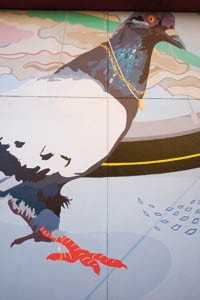 "From the ground up: Details from Kate Bechak's ""Worm's Eye View"" Sprout Fund mural - PHOTO BY HEATHER MULL"
