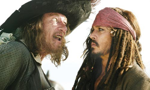Geoffrey Rush and Johnny Depp have a bad hair day.