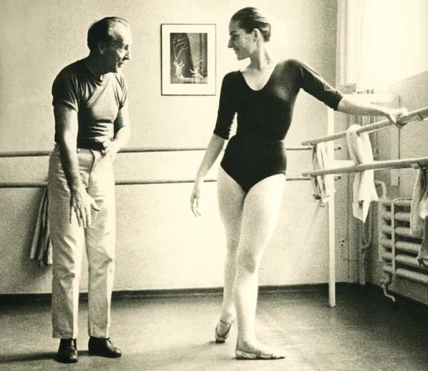 George Balanchine and Tanny le Clercq, at the barre