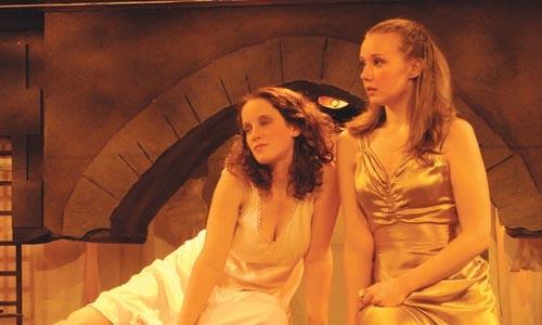 Girl talk: Bonnie Doyle (left) and Meg Stiles in Pitt Rep's Desdemona: A Play About A Handkerchief. - PHOTOGRAPH COURTESY OF STEPHEN GREBINSKI.