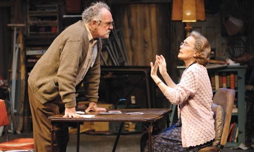 Give them a hand: Ross Bickell (left) and Lois Markle star in The Gin Game, at Pittsburgh Public Theater. Photo by Ric Evans.