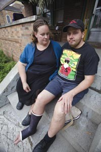 Greg Schaffer and his wife Cassi Schaffer-McNalley, at left, say a violent altercation with partygoers near Pitt's campus left Schaffer injured and facing felony charges. - PHOTO BY HEATHER MULL