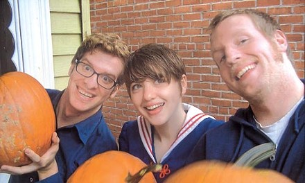 Grinning ghouls: Jason Dowling, Sandy Patton and Jonathan Dowling, from left.
