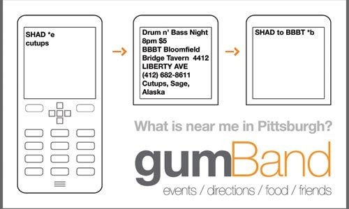 GumBand is a mobile-phone-based event-notification system proposed by Nathan Martin, and one project hoping for part of the $100,000 provided by the Sprout Fund.