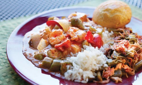 Gumbo and rice, green beans with house-made roast ham and cornbread muffin - HEATHER MULL