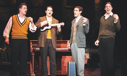 Harmony in hard times: from left, Bjorn Ahlstedt, Aaron Jefferson Tindall, Sean Papinchak and Zachary Anderson in Pitt Rep's The American Clock. Photo courtesy of Stephen Grebinski.
