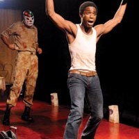 "He was here: David A. Berry portrays ""Kilroy"" in Point Park Conservatory Theatre Company's <i>Camino Real</i>."