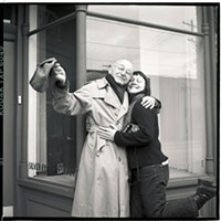 <i>CP</i>'s Heather Mull with Duane Michals in 2004, outside Silver Eye Center for Photography