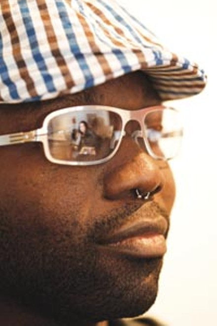 Heidi Weitz, reflected in the specs of client Wale Williams. - HEATHER MULL