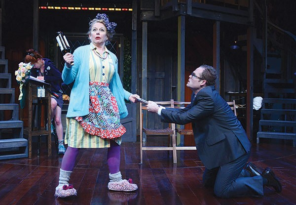 Helena Ruoti and Noah Plomgren in Noises Off, at Pittsburgh Public Theater.