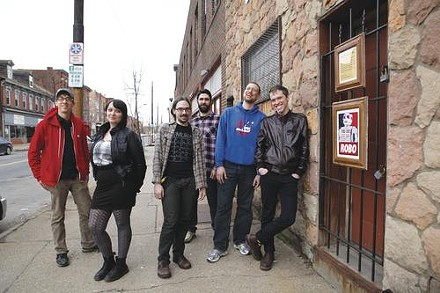 Here be Robots: Mike Q Roth, Holly Smith, Christopher Schwarzott, Bret Strawn, Brian Gruetze and Michael Baltzer at the site of the new Mr. Roboto Project - HEATHER MULL
