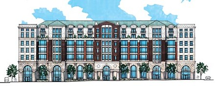Historical intersections: artist's rendering of proposed new buildings for the Don Allen car dealership site, in Bloomfield. - COURTESY OF DOC-ECONOMOU
