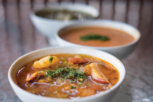 Homemade soups at Ladles, seafood chowder, crab bisque and wedding soup