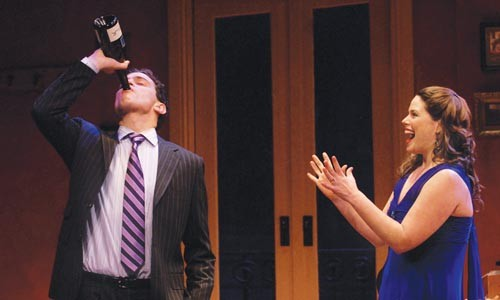 In vino veritas: Matthew Dellapina (left) and Jenny Wales in City Theatre's The 13th of Paris. - JOHN SCHISLER
