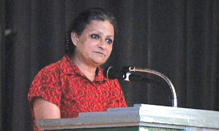 Indian activist Anna Pinto speaking at the Sept. 19 People's Summit - CHRIS POTTER
