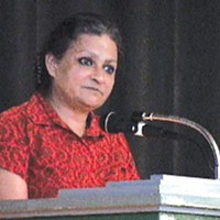Indian activist Anna Pinto speaking at the Sept. 19 People's Summit