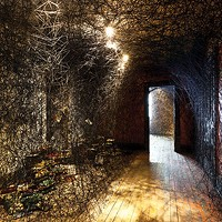 Interior landscape: view of Chiharu Shiota's <i>Trace of Memory</i>.
